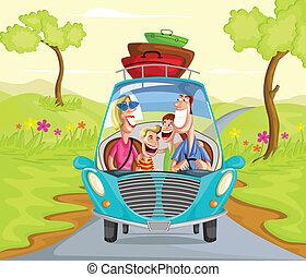 gelukkige familie, het reizen, in auto