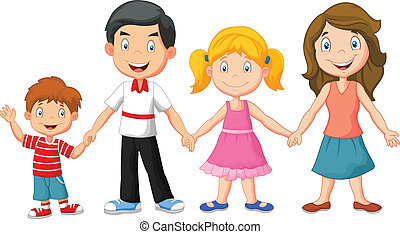 gelukkige familie, holdingshanden