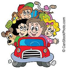 gelukkige familie, in auto, op vakantie