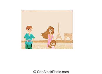gelukkige familie, in, parijs