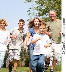 gelukkige familie, in, speels, humeur