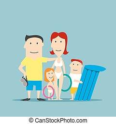 gelukkige familie, in, swimwear, op, de zomervakantie