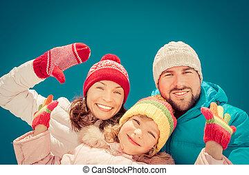 gelukkige familie, in, winter