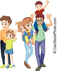 gelukkige familie, leden, gezichten