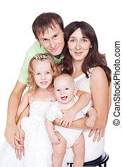 gelukkige familie, met, kinderen, vrijstaand, op wit, achtergrond