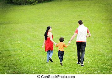 gelukkige familie, natuur