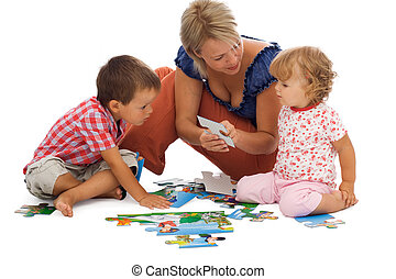gelukkige familie, spelend
