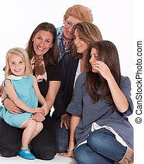 gelukkige familie, van, vrouwen