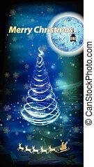 gelukkige kerstmis, buitenreclame, met, santa claus