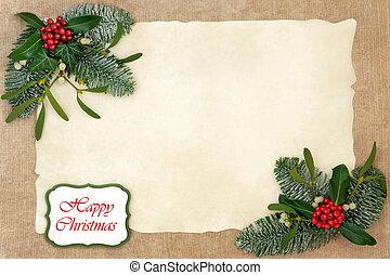 gelukkige kerstmis, floral rand