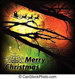 gelukkige kerstmis, inscriptie, met, santa claus