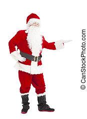 gelukkige kerstmis, santa claus, met, het tonen, gebaar