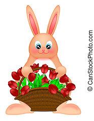 gelukkige pasen, bunny konijn, met, tulpen, mand, illustratie