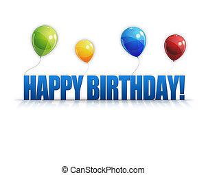 gelukkige verjaardag, ballons, 3d, achtergrond