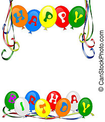 gelukkige verjaardag, ballons, uitnodiging