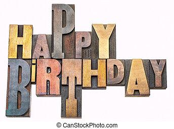 gelukkige verjaardag, begroetenen, in, hout, type