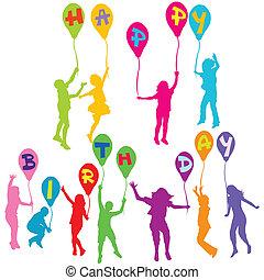 gelukkige verjaardag, boodschap, met, kinderen, silhouettes, vasthouden, ballons
