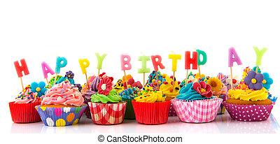 gelukkige verjaardag, cupcakes