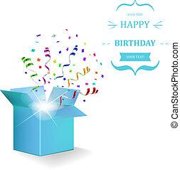 gelukkige verjaardag, doosje, met, confetti, surprise., vector