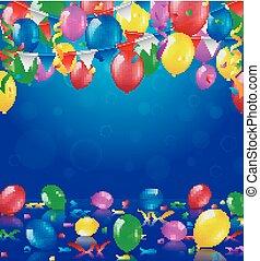gelukkige verjaardag, feestje, met, ballons