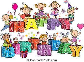 gelukkige verjaardag, geitjes, op, brieven