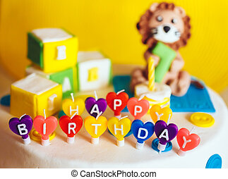 gelukkige verjaardag, geschreven, in, kaarsjes, op, kleurrijke, achtergrond
