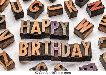 gelukkige verjaardag, in, hout, type, blokjes