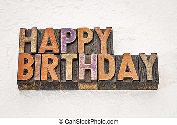 gelukkige verjaardag, in, hout, type