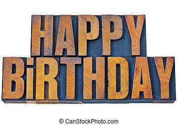 gelukkige verjaardag, in, letterpress, hout, type