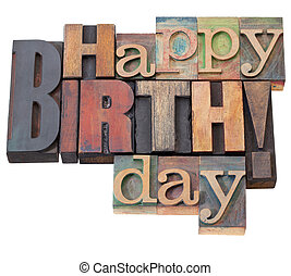 gelukkige verjaardag, in, letterpress, type