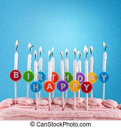gelukkige verjaardag, kaarsjes, op, blauwe achtergrond