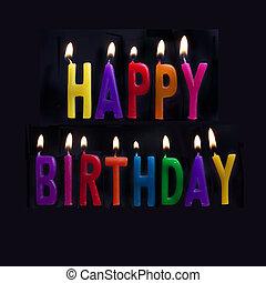 gelukkige verjaardag, kaarsjes, op, zwarte achtergrond
