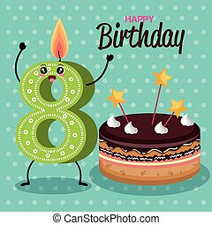gelukkige verjaardag, kaarsjes, schattig, getallen