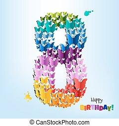 gelukkige verjaardag, kaart, acht, jaren