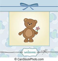 gelukkige verjaardag, kaart, beer, teddy