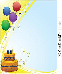 gelukkige verjaardag, kaart, met, ballons