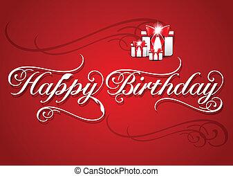 gelukkige verjaardag, kaart, met, kadootjes