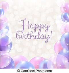 gelukkige verjaardag, kaart, met, pastel, ballons