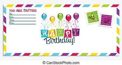 gelukkige verjaardag, kaart, uitnodiging