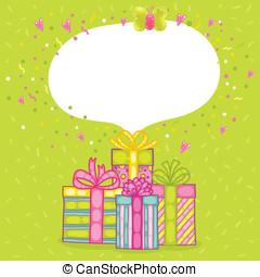 gelukkige verjaardag, kado, giftdoos, met, confetti.