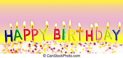 gelukkige verjaardag, lit kaarzen, op, kleurrijke, achtergrond