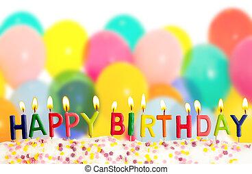 gelukkige verjaardag, lit kaarzen, op, kleurrijke ballons,...