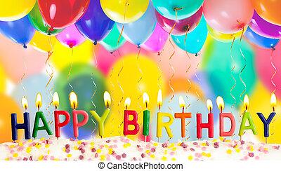 gelukkige verjaardag, lit kaarzen, op, kleurrijke ballons, achtergrond