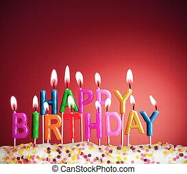 gelukkige verjaardag, lit kaarzen, op, rode achtergrond
