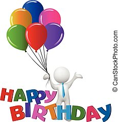 gelukkige verjaardag, met, ballons