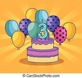 gelukkige verjaardag, met, ballons, en, bedek decoratie