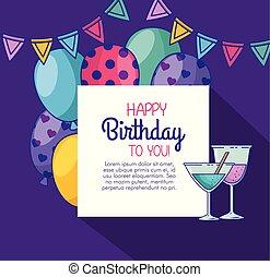 gelukkige verjaardag, met, ballons, en, de banner van de partij