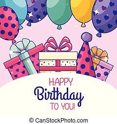 gelukkige verjaardag, met, ballons, en, feestmuts