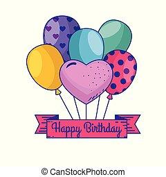gelukkige verjaardag, met, ballons, en, lint, versiering