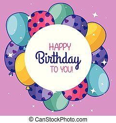 gelukkige verjaardag, met, ballons, en, sticker, versiering